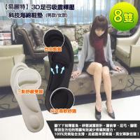 【易麗特】3D足弓吸震釋壓科技海綿鞋墊(男款/女款)-8雙入