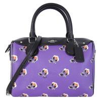 COACH 馬車花朵圖騰 PVC拼接真皮紫色小型波士頓包