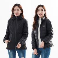 【遊遍天下】 女款二件式防風透濕+無縫JIS90拒水羽絨外套(黑色)