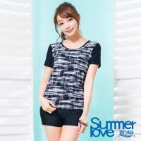 【夏之戀SUMMER LOVE】大女時尚印花短袖長版二件式泳衣S17725