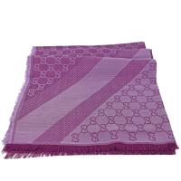 GUCCI 281942 經典雙G緹花羊毛絲綢披肩圍巾.深紫紅