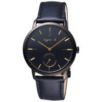 agnes b. 法國時尚小秒針手錶-黑 38mm VD78-KLB0G (BN4004X1)