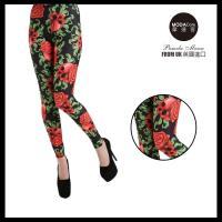 【摩達客】英國進口義大利製Pamela Mann 紅骷髏花內搭褲 (打底褲/鉛筆褲)