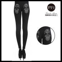 【摩達客】英國進口義大利製Pamela Mann  搖滾骷髏金屬感貼鑽黑色內搭褲 (打底褲/鉛筆褲)