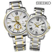 SEIKO 精工Premier不鏽鋼手錶 情侶對錶-銀色 42+31mm