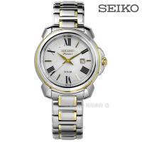 SEIKO精工 Premier 太陽能女錶-珍珠貝x雙色/31mm(SUT346J1)