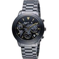 agnes b. 經典世界地圖時尚腕錶 BT3020X1 VD53-KQ00F 黑x金