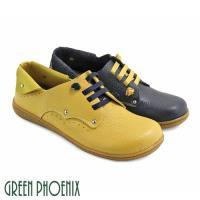 GREEN PHOENIX 雙彩撞色彈性鬆緊翻領全真皮平底休閒鞋U60-23028