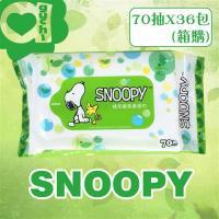 SNOOPY史努比濕紙巾 綠茶香氛柔濕巾70抽(36包/箱)