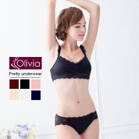 【Olivia】無鋼圈全蕾絲薄款抹胸內衣褲套組