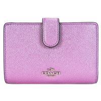 COACH 馬車珠光皮革拉鍊袋中夾(珠光粉紫)