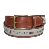 Tommy Hilfiger 2018男時尚灰織帶鑲嵌黃褐色皮帶(預購)