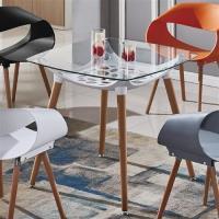【AT HOME】亞琪2.7尺白色方形玻璃洽談桌休閒桌餐桌(80*80*75cm)
