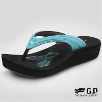 G.P 女款亮蔥厚底夾腳拖鞋G8523W-水藍色(SIZE:35-39 共四色)