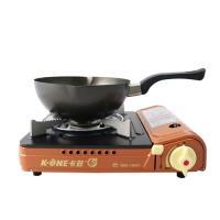 卡旺K1-A001D雙安全卡式爐+鵝頭牌黑金剛雪平鍋(CI-2101)