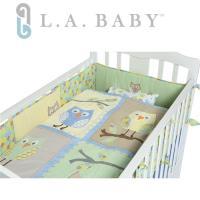 L.A. Baby 貓頭鷹純棉八件組寢具 L(枕頭+枕套+雙床圍+床罩+床裙+空調被+被芯)