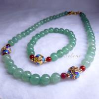 【Selene 珠寶】富貴東陵玉套組 綠與金結合  唯美中國風設計