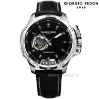 GIORGIO FEDON 1919 / GFBG001 / 自動兼手動上鍊 藍寶石塗層玻璃 精工機芯 機械錶 真皮手錶 黑色 46mm