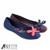 Pretty 撞色法式蝴蝶結防水膠鞋/雨鞋BA-2398B