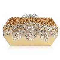 【米蘭精品】晚宴包鏈條手提包-水晶鑽珍珠綢面蝴蝶結女手拿包6色73rk30
