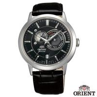 ORIENT東方錶  經典工藝日月相錶系列皮革機械腕錶-黑色x41.5mm  FET0P003B0