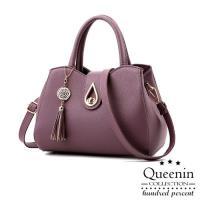 DF Queenin日韓 - 氣質女伶輕時尚水滴手提斜背2用包-共4色