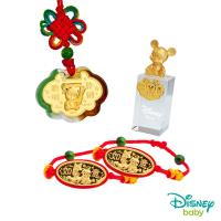Disney迪士尼系列金飾 彌月金飾印章套組木盒-聰明伶俐米奇款-米奇造型印章 0.25錢