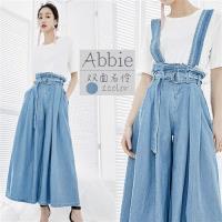 Abbie日系新款時尚鬆緊腰頭吊帶寬褲