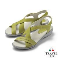 TRAVEL FOX(女) 希臘的風 牛皮舒適交叉綁帶微跟休閒涼鞋 - 自然綠