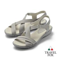 TRAVEL FOX(女) 希臘的風 牛皮舒適交叉綁帶微跟休閒涼鞋 - 舒服灰
