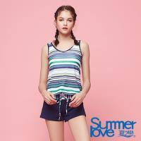 夏之戀SUMMER LOVE 大女條紋連身褲三件式泳衣S18729