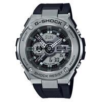 【CASIO】G-SHOCK 絕對強悍 百老匯爵士樂系列膠帶雙顯錶-黑(GST-410-1A)