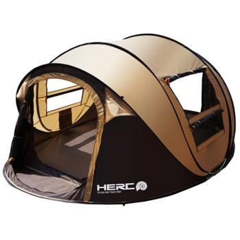 IDOOGEN  一房兩廳5~6人全自動快速帳篷 速搭帳 秒開帳 帳篷 (咖啡色)