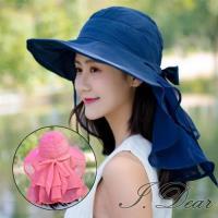 【I.Dear】日本全方位抗UV防曬大帽簷波浪荷葉網紗護頸遮陽帽(5色)現貨