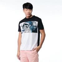Jimmy Wang男生拼接美式搖滾骷髏短袖T恤