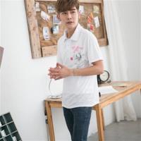 Jimmy Wang  男生中國風錦鯉白色POLO衫