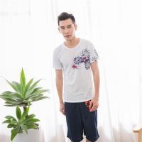 Jimmy Wang 男生氣質中國風白色短袖T恤