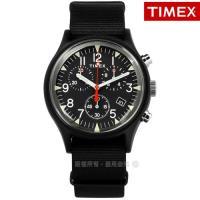 TIMEX 天美時 / TXTW2R67700 / 美國品牌 INDIGLO專利冷光照明 三眼計時 日期 帆布手錶 黑色 40mm