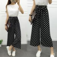 韓國KW F 復古黑白條紋鬆緊腰綁帶雪紡闊腿褲