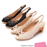 Love Girl 俏麗佳人曲線鏤空魚口楔型涼鞋