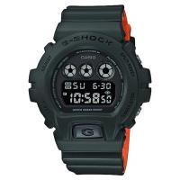 CASIO 卡西歐 G-SHOCK 霧面坦克手錶-墨綠x橘 DW-6900LU-3DR