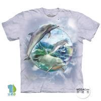 摩達客 (預購)(男童/女童裝)美國進口The Mountain 海豚水晶球 純棉環保藝術中性短袖T恤