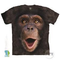 摩達客 (預購)(男童/女童裝)美國進口The Mountain 開心黑猩猩臉 純棉環保藝術中性短袖T恤