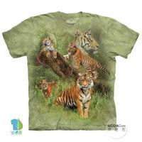 摩達客 (預購)(男童/女童裝)美國進口The Mountain 野虎群 純棉環保藝術中性短袖T恤