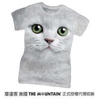 摩達客  The Mountain 綠眼貓臉 短袖女長版T恤精梳棉環保染
