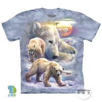 摩達客 (預購)(大尺碼3XL)美國進口The Mountain 日出北極熊 純棉環保藝術中性短袖T恤