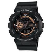 CASIO 卡西歐 G-SHOCK 復古重機雙顯手錶-古銅x黑 GA-110RG-1A