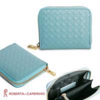 【ROBERTA 諾貝達】義大利牛皮-零錢/卡片包-附拉鍊內袋-編織紋-藍色