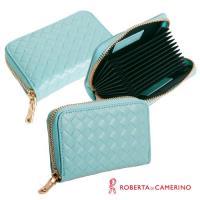 【ROBERTA 諾貝達】義大利牛皮-拉鍊式-多層卡片包-編織紋-藍色
