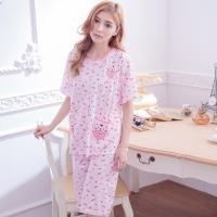 lingling日系 貼布貓咪英文字母短袖二件式睡衣組(全尺碼)